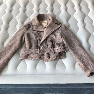 Brown winter jacket. With belt